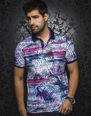 Multi Color Leaf Print Polo