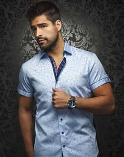 Casual Shirt: Light Blue Short Sleeve Sport Shirt
