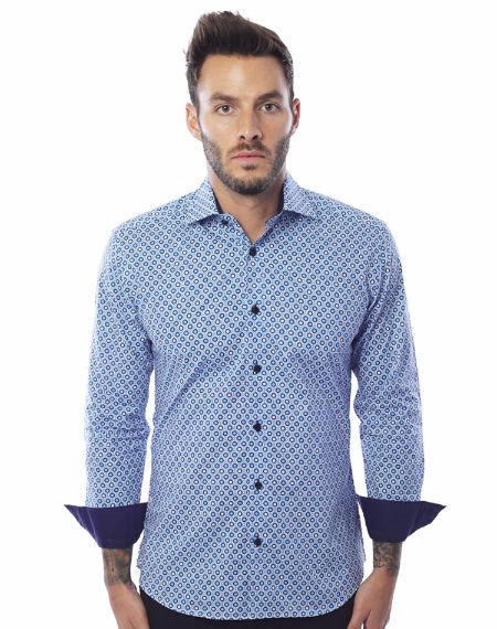White and Blue Luxury Dress Shirt