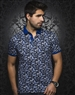Royal Blue Vine Print Polo Shirt