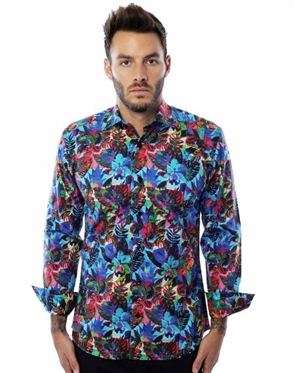 Turquoise Floral Print Shirt