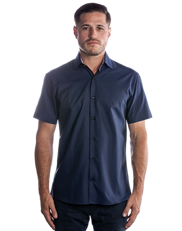 Luxury Short Sleeve Woven - Navy Dress Shirt