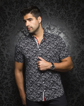 Sporty Short Sleeve Dress Shirt:  Larson Black