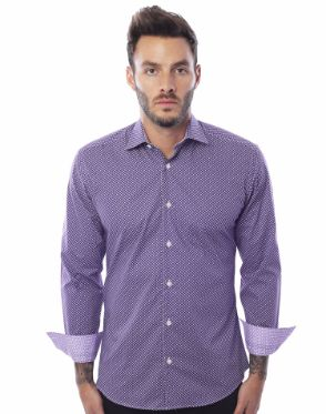 Luxury Dress Shirt - Purple White Dot