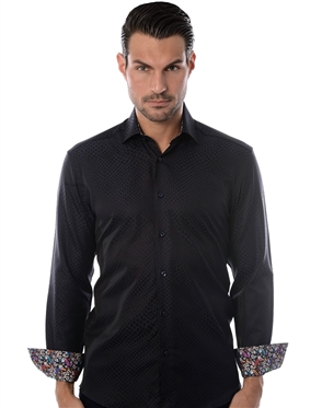Navy Jacquard Dress Shirt