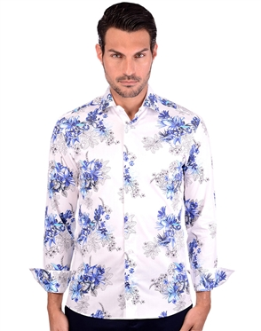 Flowering White And Blue Cotton Shirt