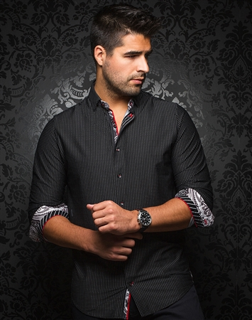 Luxury Black White Button Down
