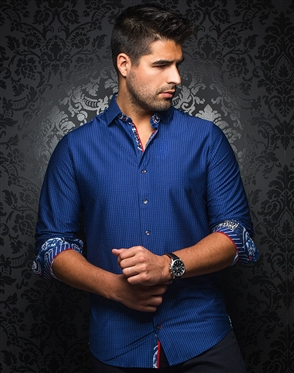 Luxury Navy and Blue Button Down