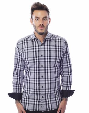 Designer Black White Check Dress Shirt