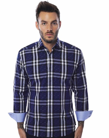 Luxury NavyCheck Dress Shirt