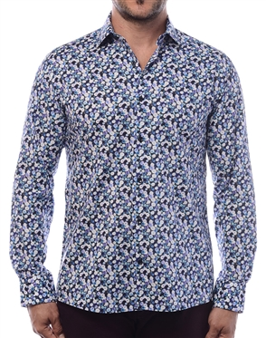 Luxury Dress Shirt -  Fashionable Ranges Of Blue In A Circular Abstract Print Designer Shirt