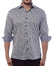 Men's Designer Dress Shirt - Sporty-Elegant Light-Grey Leaf And Polar Bear Print Shirt