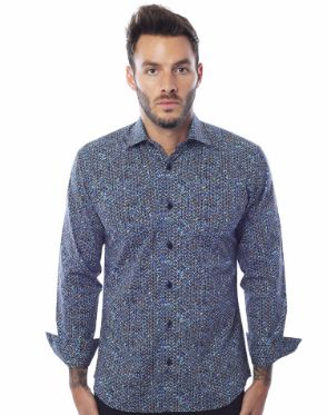 Aqua Multicolor Dress Shirt