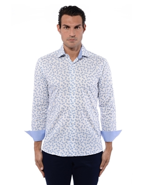 Active White And Blue Men's Sport Dress Shirt