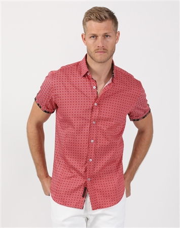 Cardinal Red Men's Cotton Woven Shirt