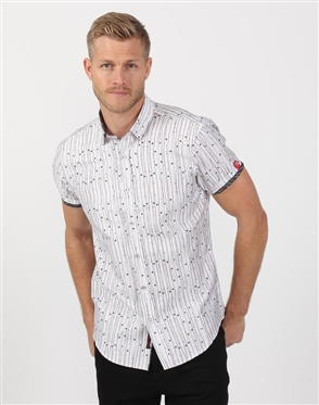 Fierce White Poker Men's Designer Dress Shirt