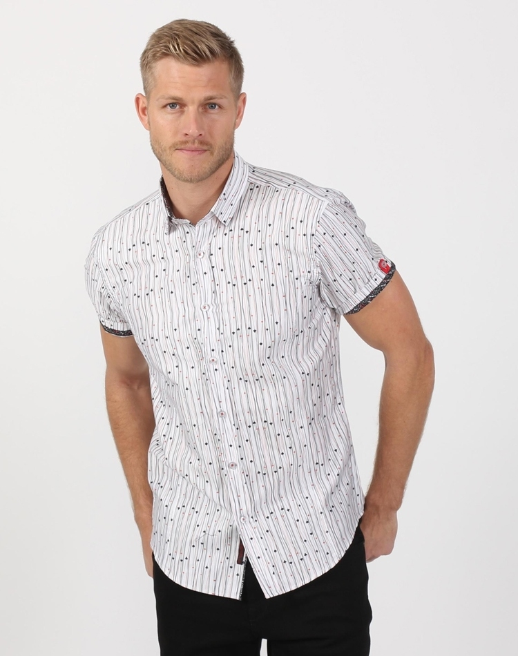 c867ce43195d Bold White Men s Designer Shirt- White Button Shirt With Deck Of ...