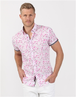 Budding White And Pink Men's Designer Shirt