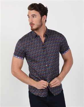 Relaxed Designer Navy Cotton Woven Shirt