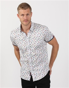 Fresh White Designer Print Dress Shirt