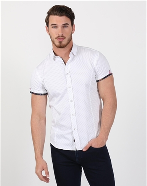 Crisp White Polka Dot Men's Shirt