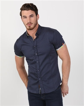Fresh Navy Polka Dot Summer Shirt
