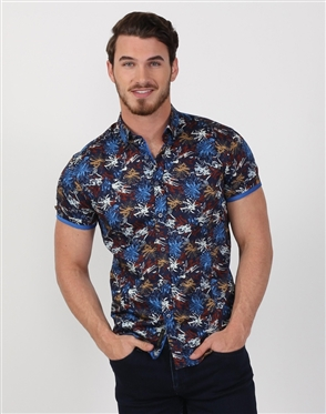 Navy Multi Patterned Men's Cotton Shirt