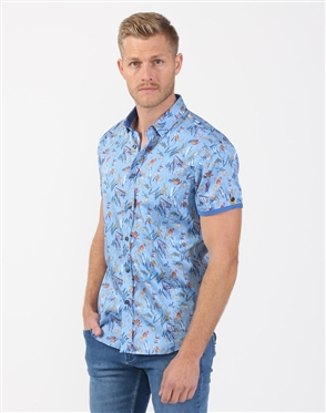 Interesting And Stylish Sky Blue Short Sleeve Shirt