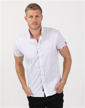 Crisp White Multi Patterned Men's Shirt