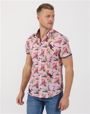 Suave Floral Pink Men's Cotton Shirt