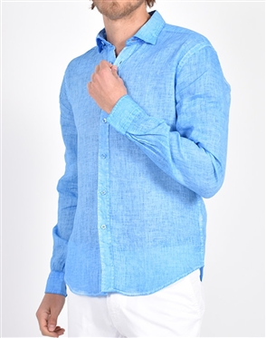Solid Blue Linen Shirt|Eight-x Luxury Linen Shirt
