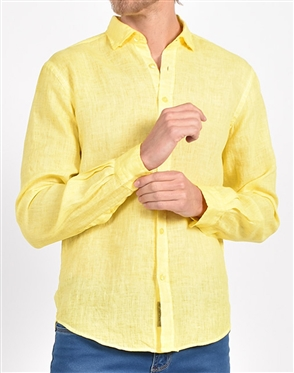 Solid Yellow Linen Shirt|Eight-x Luxury Linen Shirt
