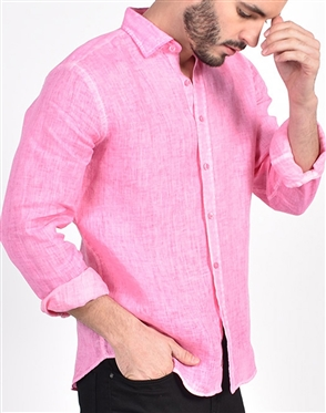 Solid Pink Linen Shirt|Eight-x Luxury Linen Shirt
