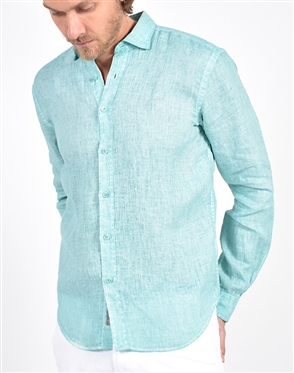 Solid Green Linen Shirt|Eight-x Luxury Linen Shirt