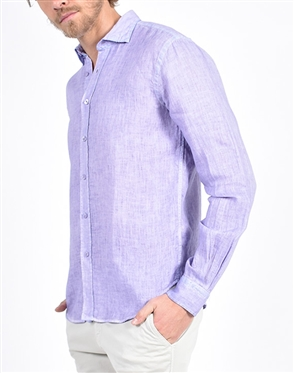 Solid Purple Linen Shirt|Eight-x Luxury Linen Shirt