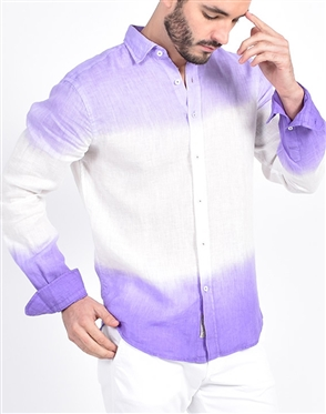 Lilac Linen Flower Print Shirt|Eight-x Luxury Linen Shirt