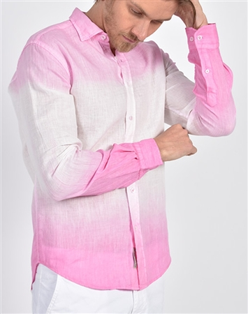 Pink Linen Flower Print Shirt|Eight-x Luxury Linen Shirt