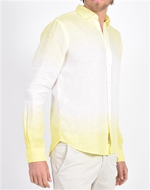 Yellow Linen Flower Print Shirt|Eight-x Luxury Linen Shirt
