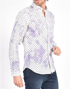 Purple Linen Flower Print Shirt|Eight-x Luxury Linen Shirt