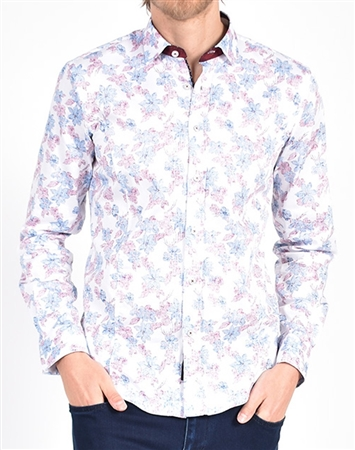 Distressed Wildflower Print Shirt|Eight-x Luxury Long Sleeve Dress Shirt
