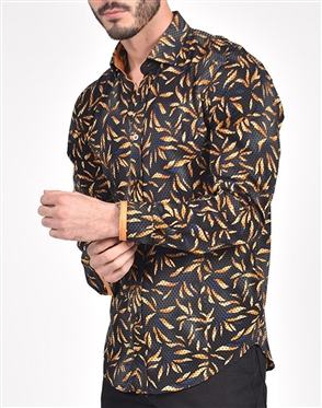 Black Shirt with Yellow Leaves flocking print|Eight-x Luxury Long Sleeve Dress Shirt