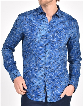 Sax Leaf and Flocking Print Shirt|Eight-x Luxury Long Sleeve Dress Shirt