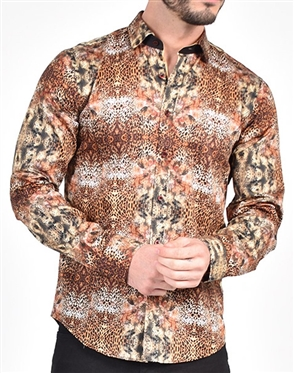 Leopard Print Dress Shirt|Eight-x Luxury Long Sleeve