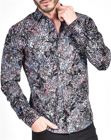 Colorful Baroque Print Shirt with flocking|Eight-x Luxury Long Sleeve