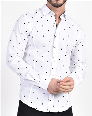Pristine Navy Dot Print Shirt|Eight-x Luxury Long Sleeve Dress Shirt