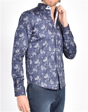 Navy Weave and Paisley Print Shirt|Eight-x Luxury Long Sleeve