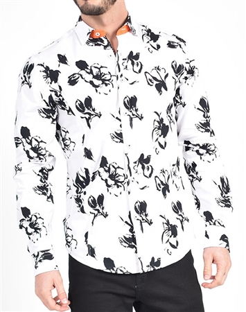 Brush Stroke Print Shirt|Eight-x Luxury Long Sleeve|Nextlevelcouture