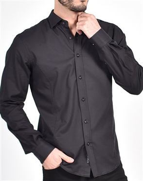 Black on Black Pink trim Shirt|Eight-x Luxury Long Sleeve Dress Shirt