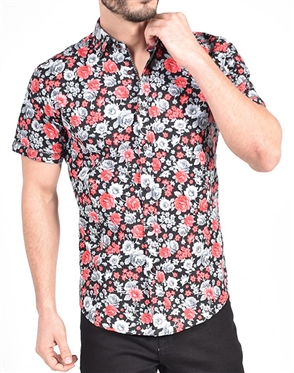 Red Monochromatic Rose Print shirt|Eight-x Luxury Short Sleeve