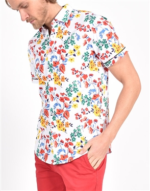 Swiss Spring Flower Print Shirt|Eight-x Luxury Short Sleeve